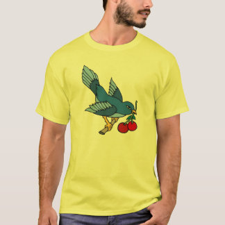 Vintage Bluebird and Cherries Tattoo Art T-Shirt