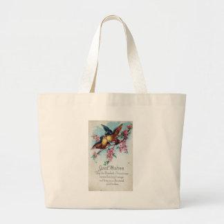 Vintage Bluebird Good Wishes Jumbo Tote Bag