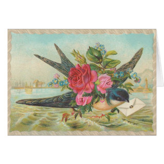 Vintage - Bluebird Of Love & Happiness Greeting Card