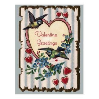 Vintage Bluebirds and Hearts Valentine Postcard