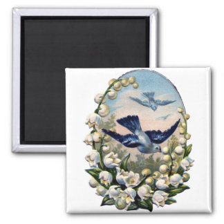 vintage bluebirds flowers lily of the valley birds 2 inch square magnet