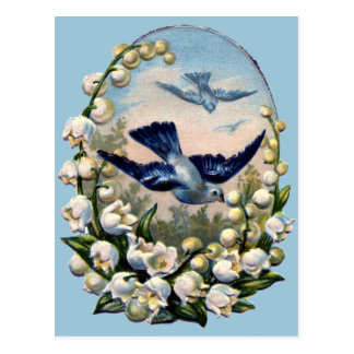 vintage bluebirds flowers lily of the valley birds postcard