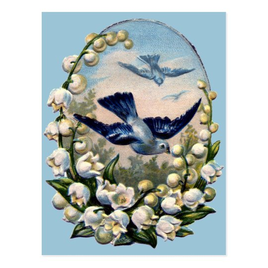 vintage bluebirds flowers lily of the valley birds