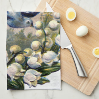 vintage bluebirds flowers lily of the valley birds tea towel
