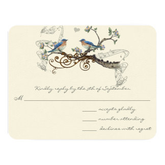 Vintage Bluebirds Wedding RSVP Card