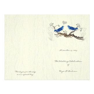 Vintage Bluebirds  Woodgrain Program 21.5 Cm X 28 Cm Flyer