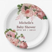 Vintage Blush and Burgundy Floral Baby Shower Paper Plate