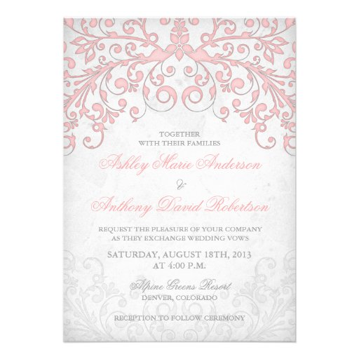 Vintage Blush Pink Grey Floral Wedding Invitation