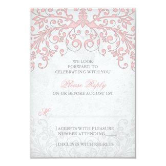 Vintage Blush Pink Grey Floral Wedding RSVP Card
