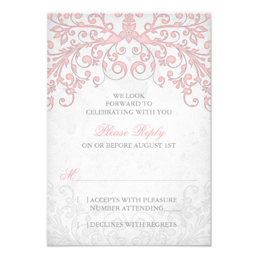 Vintage Blush Pink Grey Floral Wedding RSVP Invitations