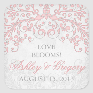 Vintage Blush Pink Grey Floral Wedding Seal