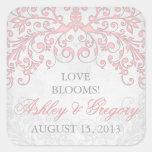 Vintage Blush Pink Grey Floral Wedding Seal Square Sticker