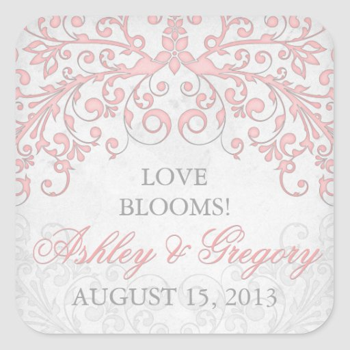 Vintage Blush Pink Grey Floral Wedding Seal Square Stickers
