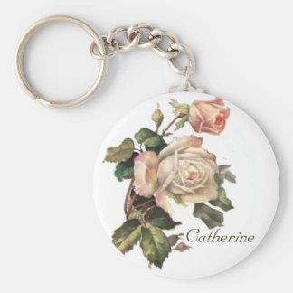 Vintage Blush Pink Roses Keychain