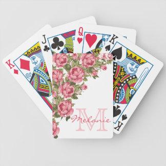 Vintage blush pink roses Peonies name, monogram Bicycle Playing Cards