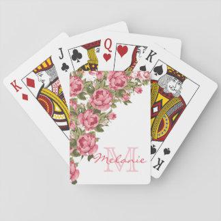 Vintage blush pink roses Peonies name, monogram Playing Cards