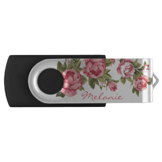 Vintage blush pink roses Peonies name USB Flash Drive