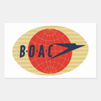 Vintage BOAC Airline Logo Rectangular Sticker