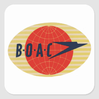 Vintage BOAC Airline Logo Square Sticker