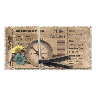 Vintage Boarding Pass Invitation Custom Photo Card