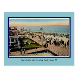 Vintage Boardwalk and beach Rockaway Park NY Postcard