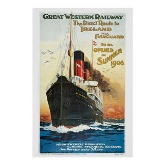 Vintage boat travel to Ireland advert Poster
