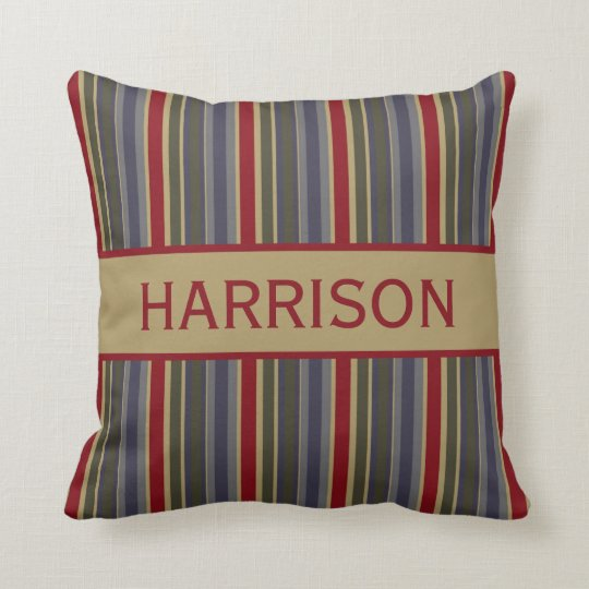 Vintage Boathouse Stripes Personalised Throw Pillow