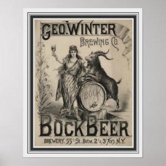 Vintage Bock Beer Poster 16 x 20