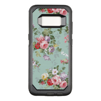 Vintage bohemian elegant pink red roses pattern OtterBox commuter samsung galaxy s8 case