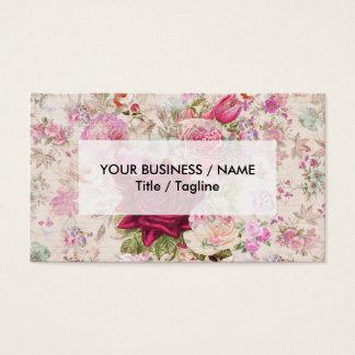 Vintage bohemian pink lavender roses flowers business card