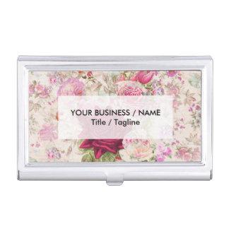 Vintage bohemian pink lavender roses flowers business card holders