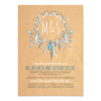 vintage boho dreamcatcher wedding card