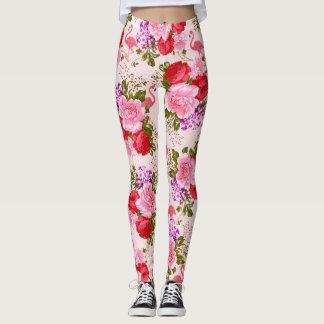Vintage boho pink roses floral tropical flamingo leggings