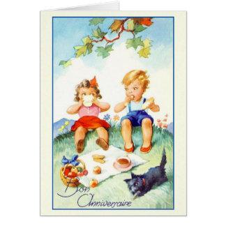 Vintage Bon Anniversaire French Birthday Card