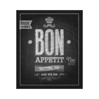 Vintage Bon Appetit Poster - Chalkboard Canvas Print