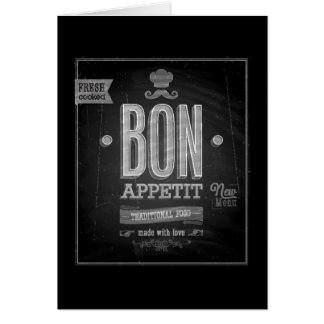 Vintage Bon Appetit Poster - Chalkboard Greeting Card