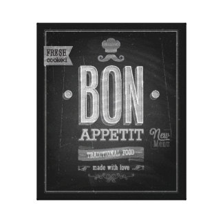 Vintage Bon Appetit Poster - Chalkboard Stretched Canvas Print