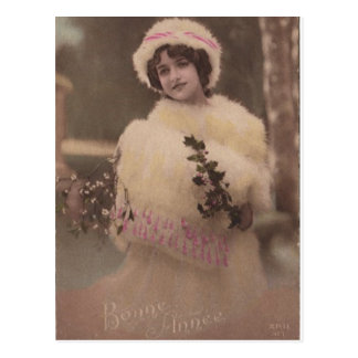 Vintage Bonne Annee Winter Postcard