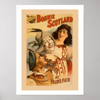 Vintage Bonnie Scotland musical litho Poster