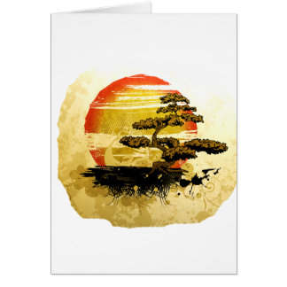 Vintage Bonsai Graphic Grunge Look with Sun Greeting Card