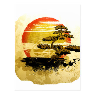Vintage Bonsai Graphic Grunge Look with Sun Postcard