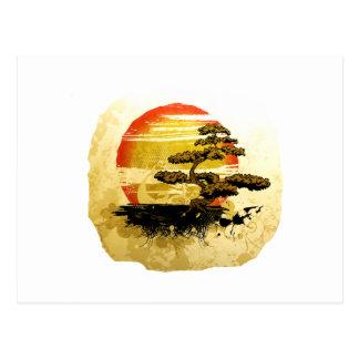 Vintage Bonsai Graphic Grunge Look with Sun Postcard