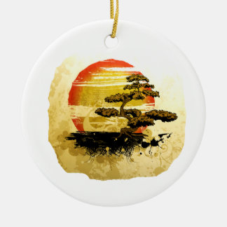 Vintage Bonsai Graphic Grunge Look with Sun Round Ceramic Decoration