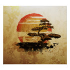 Vintage Bonsai Sunset Poster