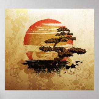 Vintage Bonsai Sunset Print