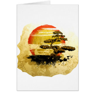 Vintage bonsai tree graphic in sepia tones greeting card