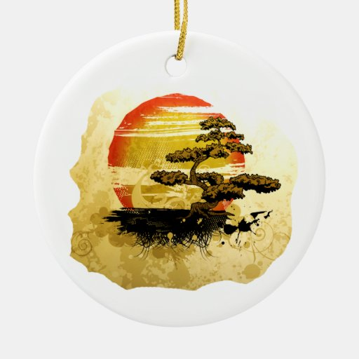 Vintage bonsai tree graphic in sepia tones ornament