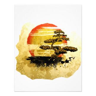 Vintage bonsai tree graphic in sepia tones announcement