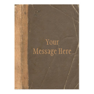 Vintage book cover, retro faux leather bound postcard