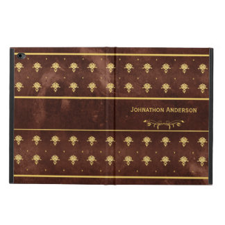 Vintage Book Leather Brown and Gold Damask Pattern Powis iPad Air 2 Case